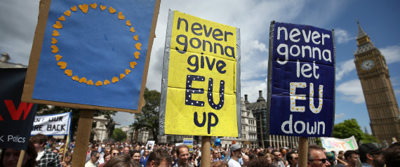 Protestors hold banners in Parliament Square during a 'March for Europe' demonstration against Britain's decision to leave the European Union, central London, Britain July 2, 2016. Britain voted to leave the European Union in the EU Brexit referendum.    REUTERS/Neil Hall