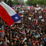 Demonstrators march with flags and signs during a protest against Chile's state economic model in Santiago, Chile October 25, 2019. REUTERS/Ivan Alvarado